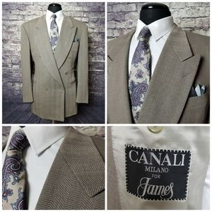 CANALI ITALIAN 44 L TAUPE DOUBLE BREASTED BLAZER